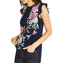 Buy Oasis Illustrator Floral Print Placement T-Shirt, Blue/Multi Online at johnlewis.com