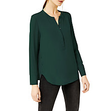 Buy Warehouse Button Side Blouse, Dark Green Online at johnlewis.com