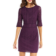 Buy Oasis Long Length Kick Sleeve Lace Dress, Dark Purple Online at johnlewis.com