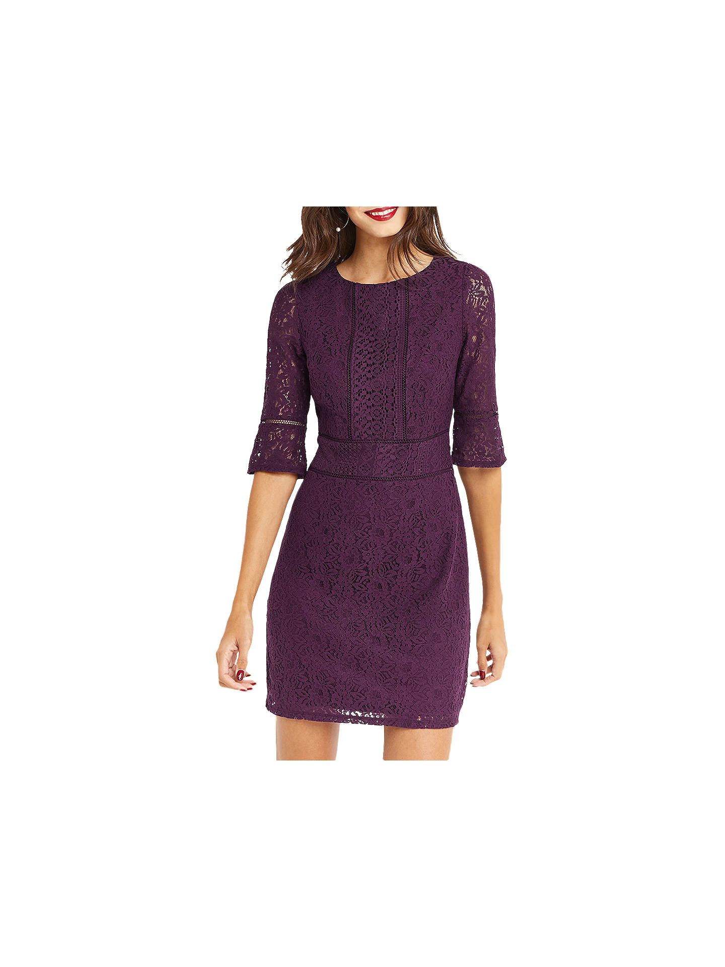 5cdb32f9672d Buy Oasis Long Length Kick Sleeve Lace Dress, Dark Purple, XS Online at  johnlewis ...