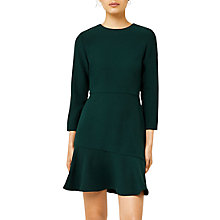 Buy Warehouse Peplum Hem Long Sleeve Dress, Dark Green Online at johnlewis.com