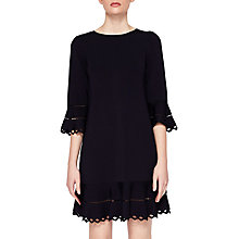 Buy Ted Baker Yazmin Knitted Frill Dress, Dark Blue Online at johnlewis.com