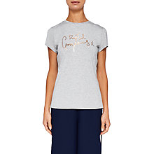 Buy Ted Baker Ted Says Relax Maddlyn Drop Ted Gorgeous T-Shirt, Light Grey Online at johnlewis.com