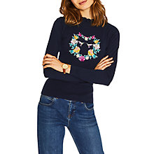 Buy Oasis Illustrator Heart Jumper, Navy Online at johnlewis.com