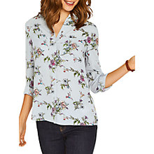 Buy Oasis Small Zaina Floral Shirt, Pale Grey Online at johnlewis.com