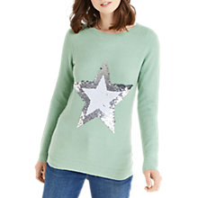 Buy Oasis Sequin Flippy Star Jumper, Teal Green Online at johnlewis.com
