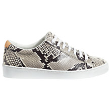 Buy Jigsaw Amour Lace Up Trainers, Black Leather Online at johnlewis.com