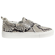 Buy Jigsaw Olivia Cross Strap Slip On Trainers, Black Leather Online at johnlewis.com