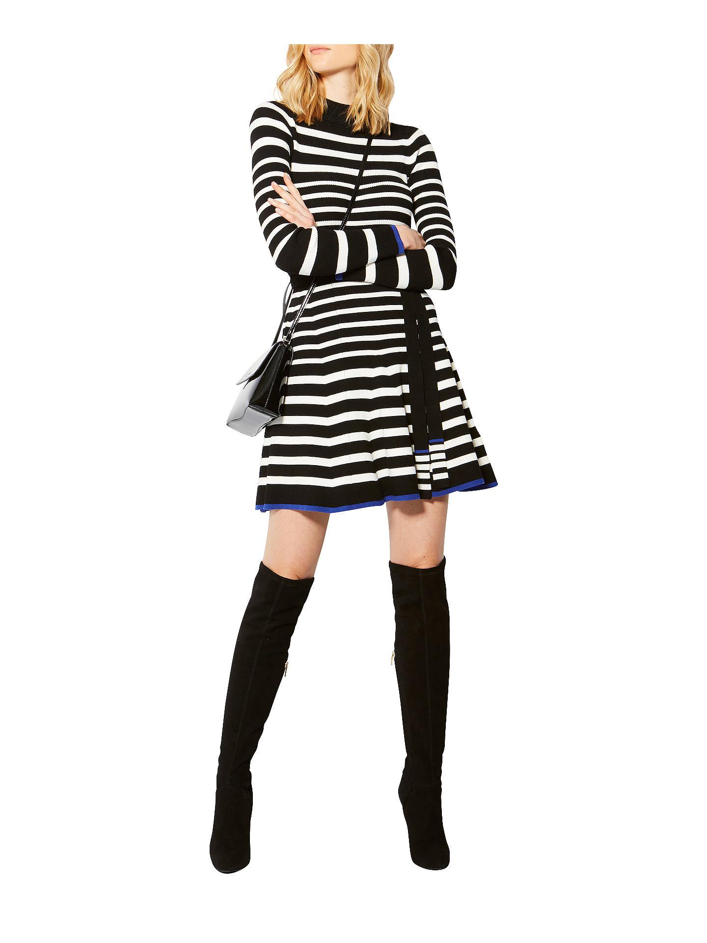 Karen Millen Knitted Striped Skater Dress, Multi at John