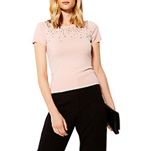 Buy Karen Millen Scattered Faux Pearl T-Shirt, Blush Online at johnlewis.com