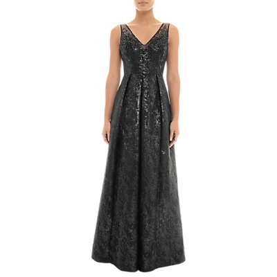Adrianna Papell Beaded Jacquard Gown, Black