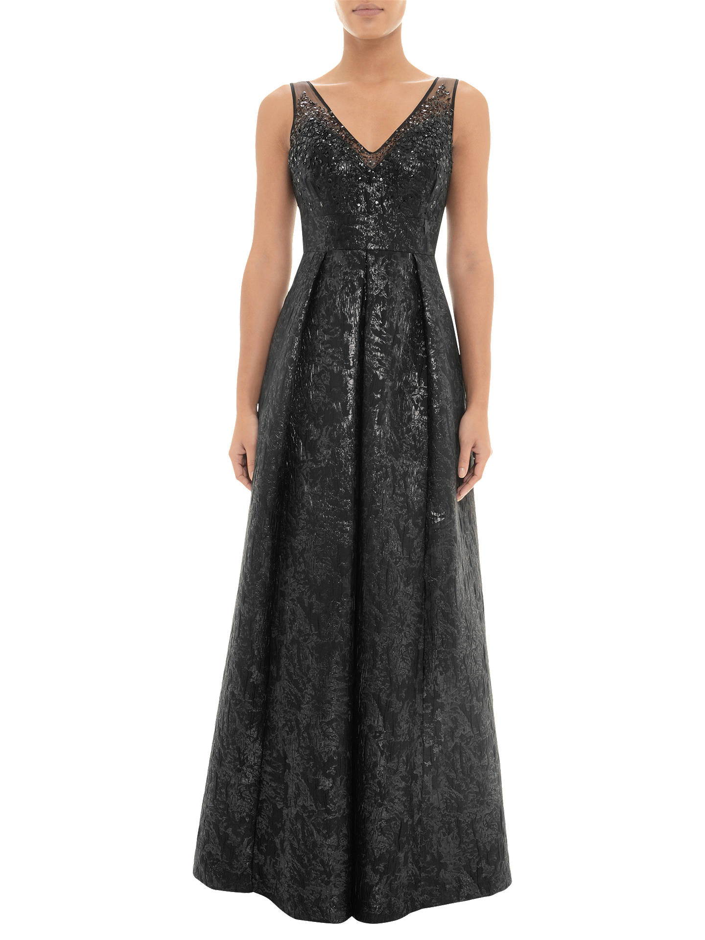 Adrianna Papell Beaded Jacquard Gown Black At John Lewis Partners