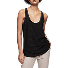 Buy Reiss Lula Lace Front Tank Top, Black Online at johnlewis.com