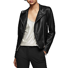 Buy Reiss Letty Leather Biker Jacket, Black Online at johnlewis.com
