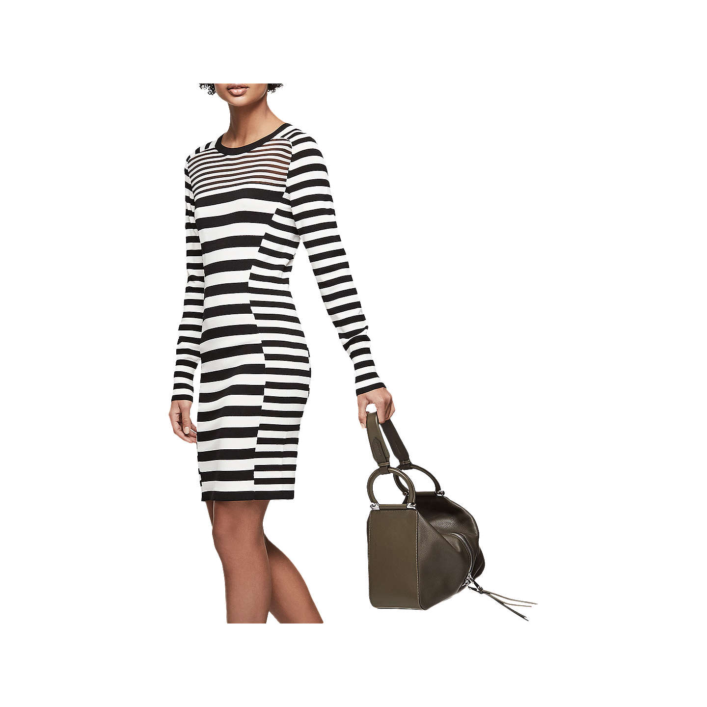 Reiss Jolie Stripe Dress, Black/White by Reiss
