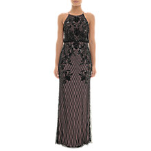 Buy Adrianna Papell Beaded Halterneck Blouson Dress, Black/Nude Online at johnlewis.com