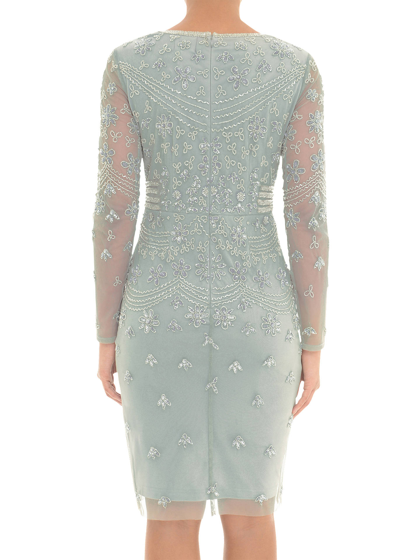 BuyAdrianna Papell Long Sleeve Beaded Dress, Blue Mist, 8 Online at johnlewis.com