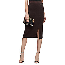 Buy Reiss Cassie Knitted Side Slit Pencil Skirt, Chocolate Online at johnlewis.com