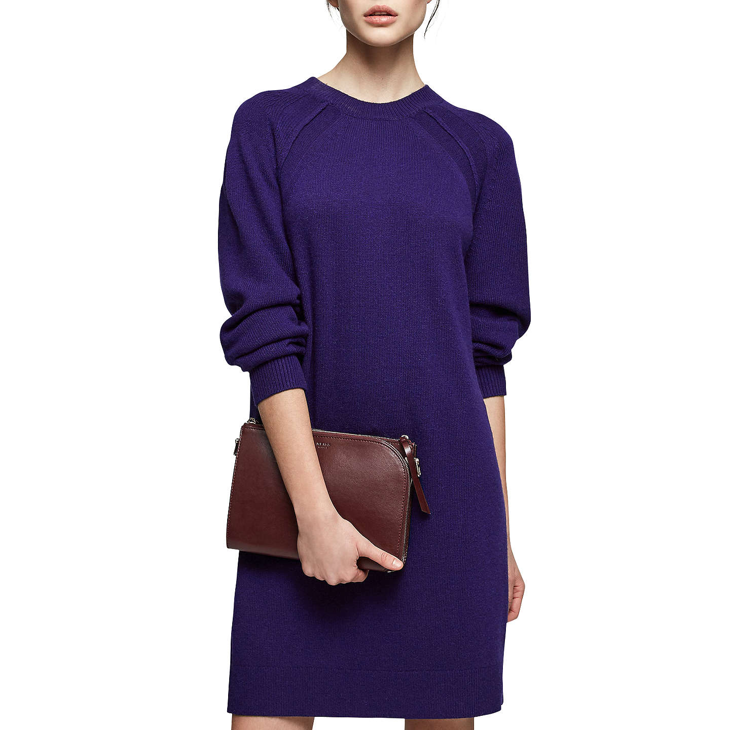 Reiss Blanca Crew Neck Knitted Dress, Cobalt by Reiss