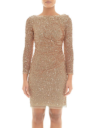 Buy Adrianna Papell Sequin Cowl Back Dress, Champagne Gold, 6 Online at johnlewis.com