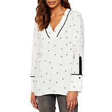 Buy Mint Velvet Kaya Print Blouse, White/Black Online at johnlewis.com