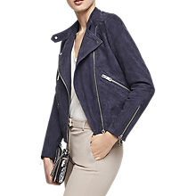 Buy Reiss Freya Suede Biker Jacket, Indigo Online at johnlewis.com