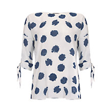 Buy Mint Velvet Inky Spot Blouse, Blue/White Online at johnlewis.com