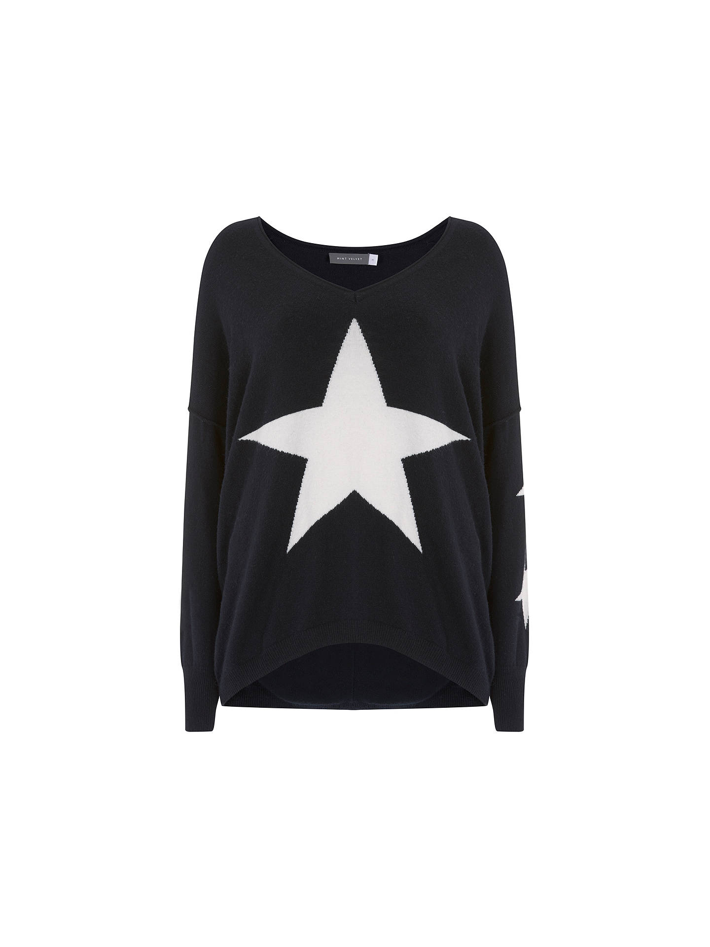 BuyMint Velvet Star Front Cocoon Jumper, Navy, XS Online at johnlewis.com