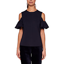 Buy Ted Baker Betey Cold Shoulder Top, Dark Blue Online at johnlewis.com