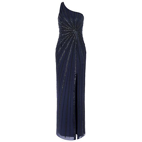 Buy Adrianna Papell One Shoulder Long Dress, Midnight Online at johnlewis.com