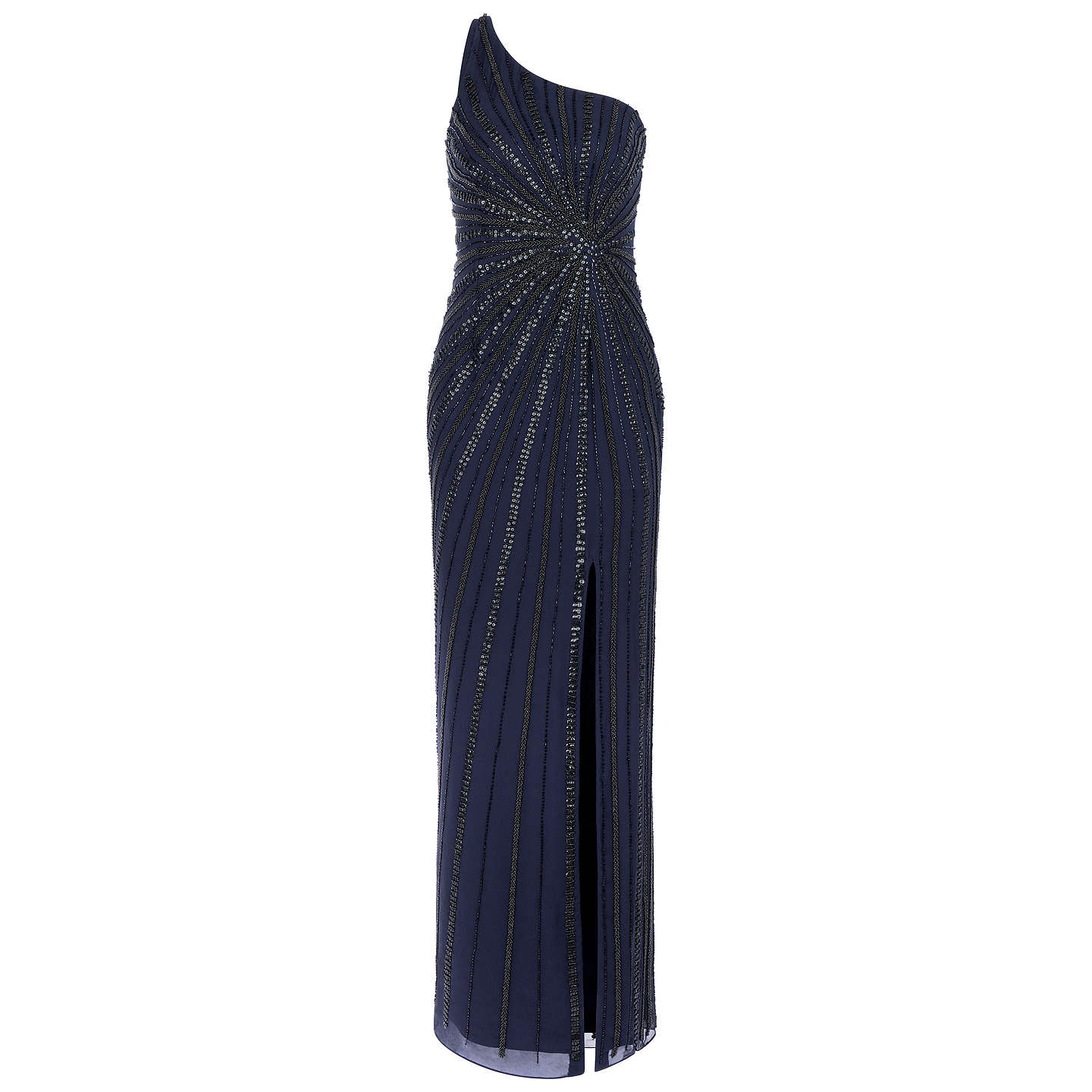 BuyAdrianna Papell One Shoulder Long Dress, Midnight, 12 Online at johnlewis.com