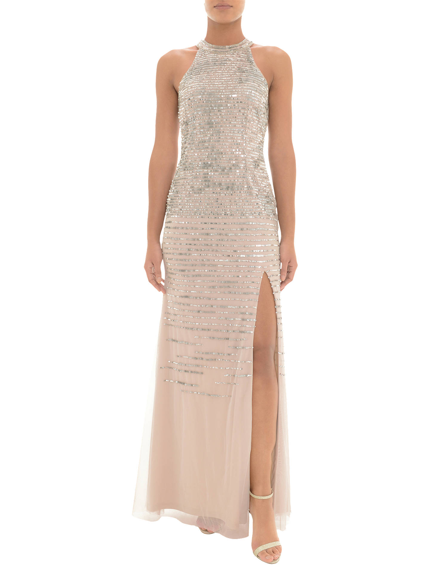 c29e5eba Buy Adrianna Papell Sequin Halterneck Dress, Silver/Nude, 6 Online at  johnlewis.