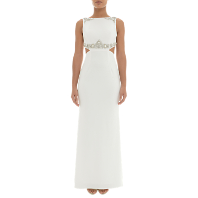 Adrianna Papell Beaded Crepe Dress, Ivory
