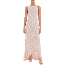 Buy Adrianna Papell Beaded Halter Dress, Shell Pink/Ivory Online at johnlewis.com