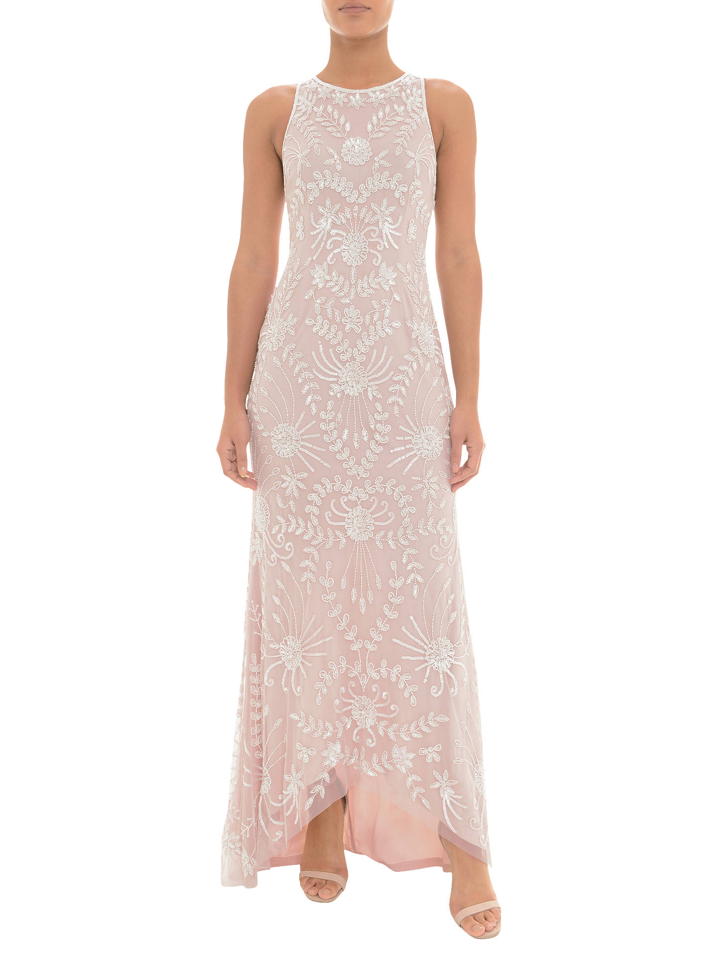 Buy Adrianna Papell Beaded Halter Dress, Shell Pink/Ivory, 6 Online at johnlewis.com