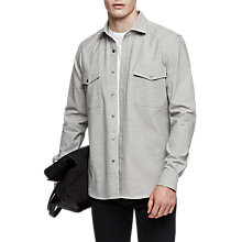 Buy Reiss Flight Flannel Overshirt, Grey Marl Online at johnlewis.com