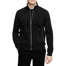 Buy Reiss Alistair Suede Bomber Jacket, Black Online at johnlewis.com