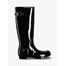 Buy Hunter Original Tall Adjustable Gloss Wellington Boots, Black Online at johnlewis.com
