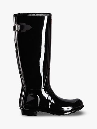 Hunter Women's Original Waterproof Tall Adjustable Gloss Wellington Boots, Black