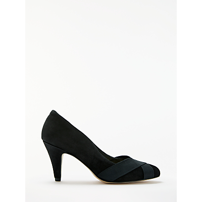 John Lewis Alice Wide Fit Court Shoes, Black Suede