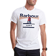 Buy Barbour Beacon Short Sleeve Graphic T-Shirt, White Online at johnlewis.com