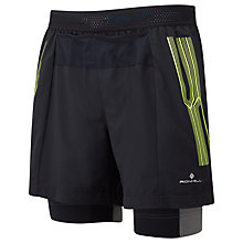 Buy Ronhill Infinity Marathon Twin Shorts, Black/Fluorescent Yellow Online at johnlewis.com
