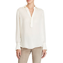 Buy Lauren Ralph Lauren Silk Flared Cuff Shirt, Cream Online at johnlewis.com