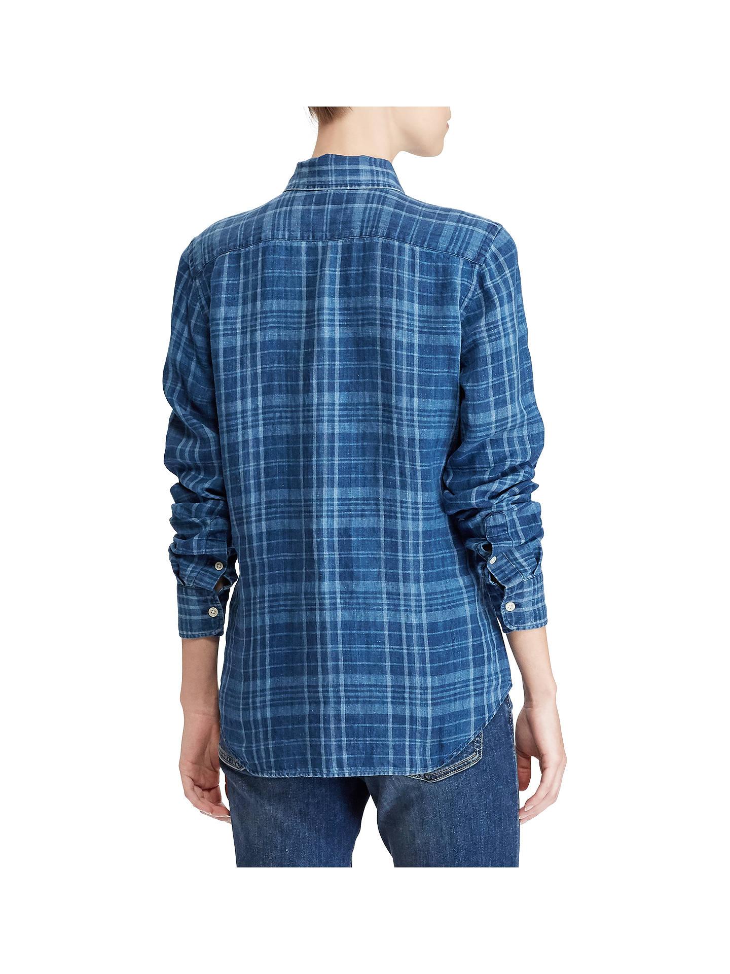 e381adca Polo Ralph Lauren Classic Fit Plaid Linen Shirt, Blue Plaid at John ...