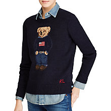 Buy Polo Ralph Lauren Bear Jumper, Navy Online at johnlewis.com