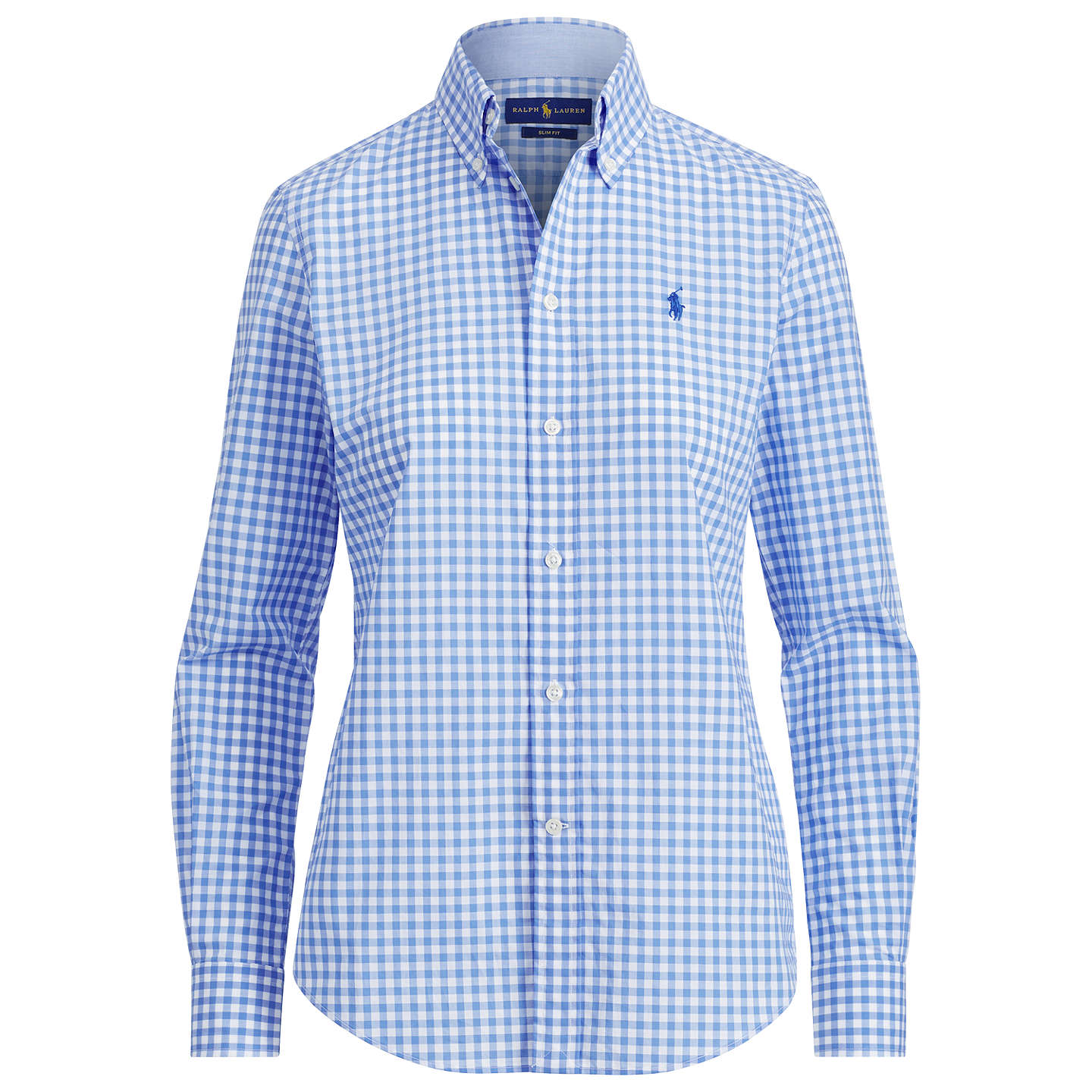 BuyPolo Ralph Lauren Kendall Slim Fit Gingham Shirt, Spring Blue/White, XS Online at johnlewis.com
