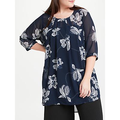 JUNAROSE Roy Floral Print Tunic Top, Navy Blazer