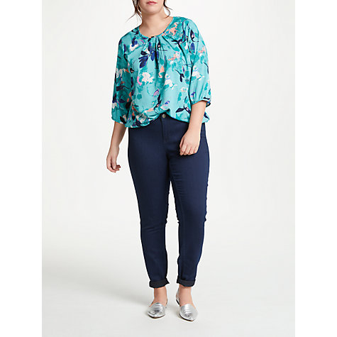 Buy JUNAROSE Emilija Floral 3/4 Sleeve Blouse, Turquoise Online at johnlewis.com