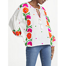 Buy Essentiel Antwerp Papalouska Embroidered Top, White Online at johnlewis.com