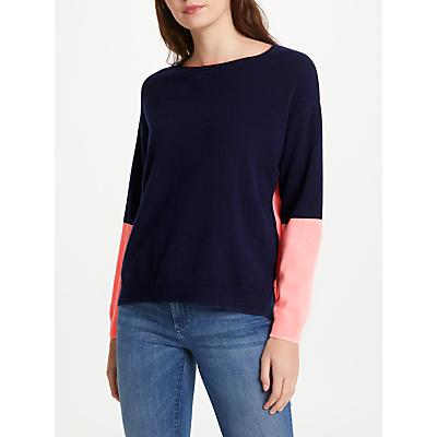 Cocoa Cashmere Colour Block Cashmere Jumper, Navy/Peach Fizz